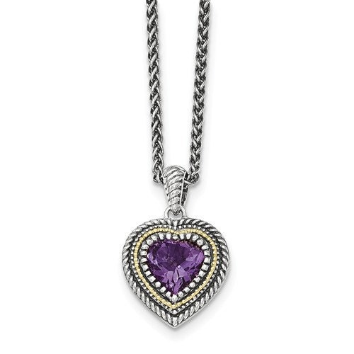 Details about  /Sterling Silver Rhodium Plated Marquise Purple Amethyst Heart Pendant 1.46 Ct.