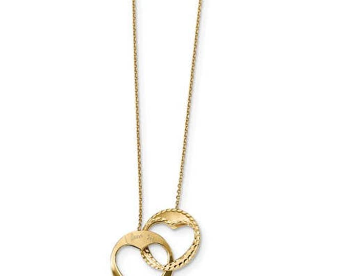 Custom Solid 14 Karat Yellow Gold Polished & Diamond Cut Double Heart I Love You 16 inch with 1 inch ext. Necklace