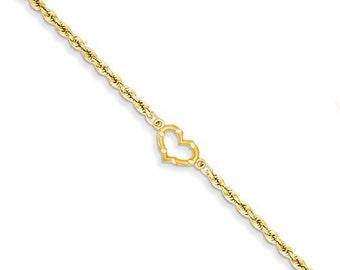 Solid 14 Karat Gold Open Heart Rope Anklet