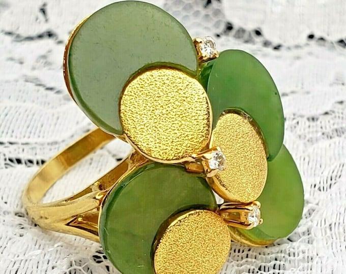 Vintage Handcrafted 18 Karat Yellow Gold Diamond & Jade Cocktail Ring