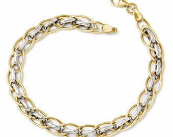 "Beautiful 14 Karat Two-tone White & Yellow Gold Polished Interlocking Fancy Link 7.25"" Inch Bracelet"