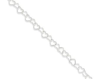 Beautiful Sterling Silver 0.6mm Fancy Heart Link Anklet.