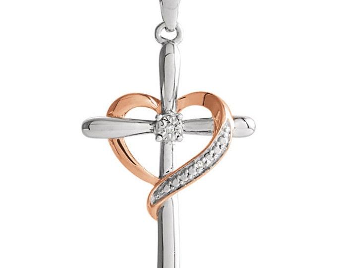 Sterling Silver 31x15.7mm Diamond Heart Cross Pendant