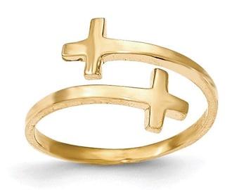 14 Karat Gold Polished Double Cross Adjustable Ring