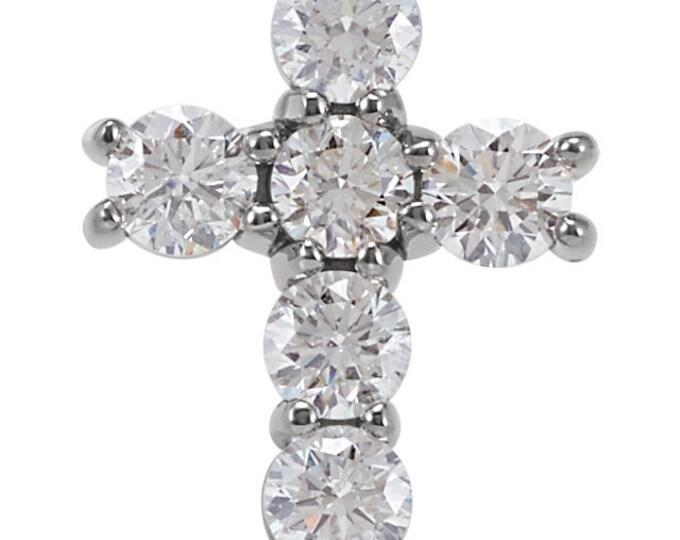 Gorgeous 14 Karat White, Rose Or Yellow Gold 1/3 CTW Diamond Cross Pendant
