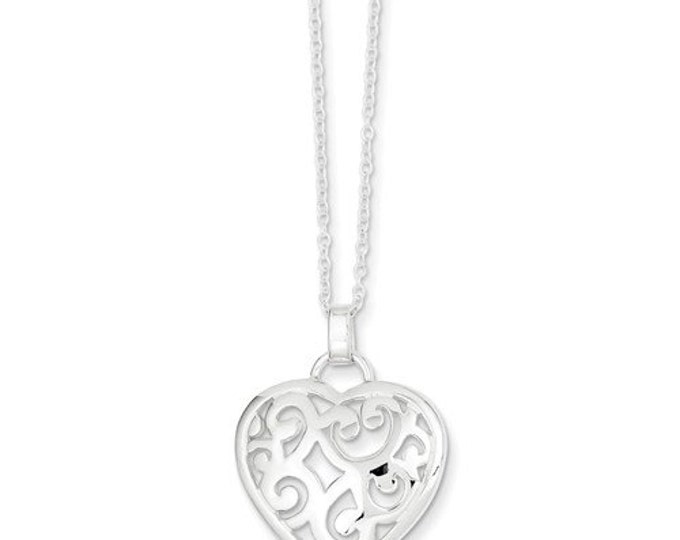 """Beautiful 925 Sterling Silver Filigree Heart pendant and 18"""" Necklace."""
