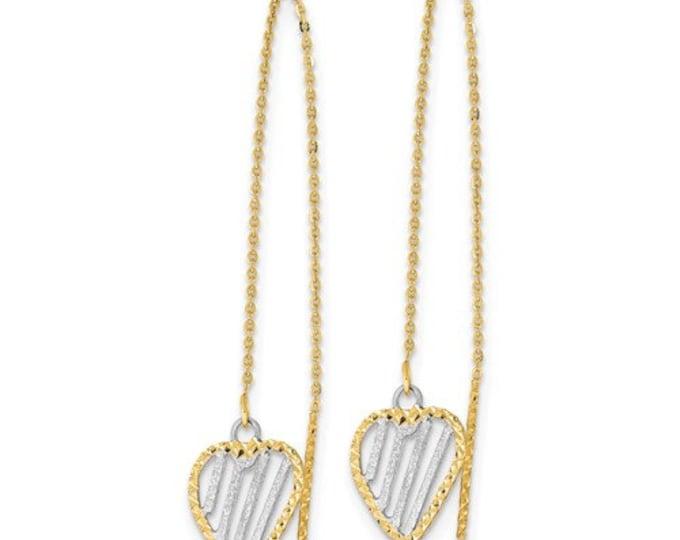 14 Karat Two Tone Yellow & White Gold Diamond Cut Heart Threader Earrings.