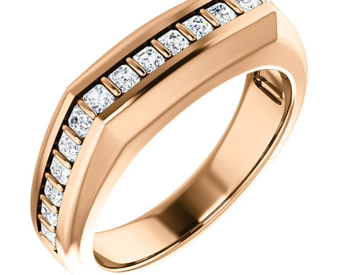 Custom Handcrafted Gents 14 Karat White, Rose or Yellow Gold 0.90 Carat 2mm Asscher VS Clarity G-H Color Diamond Men's Wedding Ring