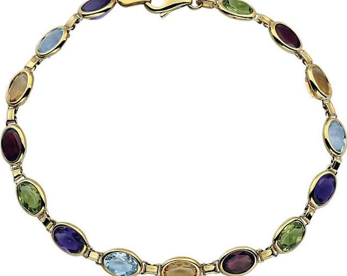 """Gorgeous 14 Karat Yellow Gold Multi-Gemstone 7"""" Bracelet"""