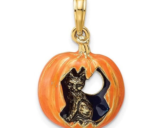 Adorable Handmade 14 Karat Yellow Gold 3-D Enameled Pumpkin with Black Cat and Moon Charm Pendant
