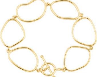 """Gorgeous 14 Karat Yellow Gold Open Silhouette 7.75"""" Bracelet"""