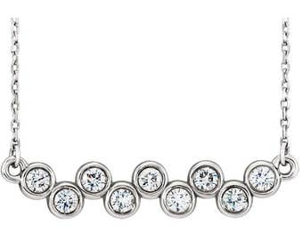 "Beautiful Custom 14 Karat White, Rose or Yellow Gold 1/2 CTW Diamond Bezel Set Bar 16-18"" Necklace."