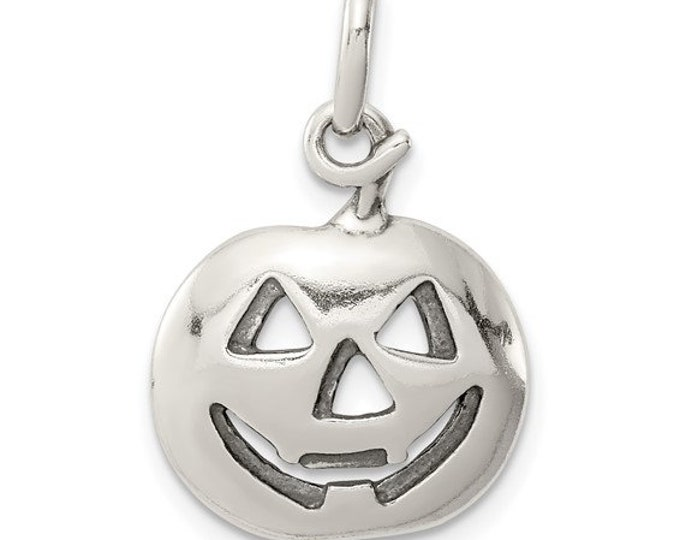 Adorable Handmade Rhodium 925 Sterling Silver Jack-o-lantern Pumpkin Charm Pendant