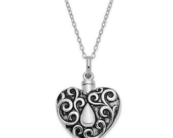 Sterling Silver Antiqued Grieving Heart Ash Holder 18in. Necklace