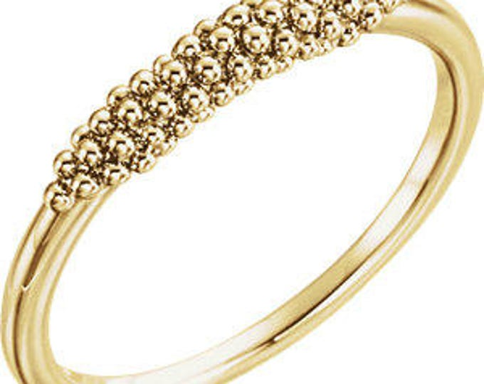 Custom Solid 14 Karat Rose, White or Yellow Gold Stackable Beaded Ring