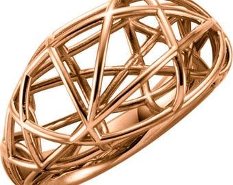 Custom Solid 14 Karat Rose, White or Yellow Gold White Nest Design Ring