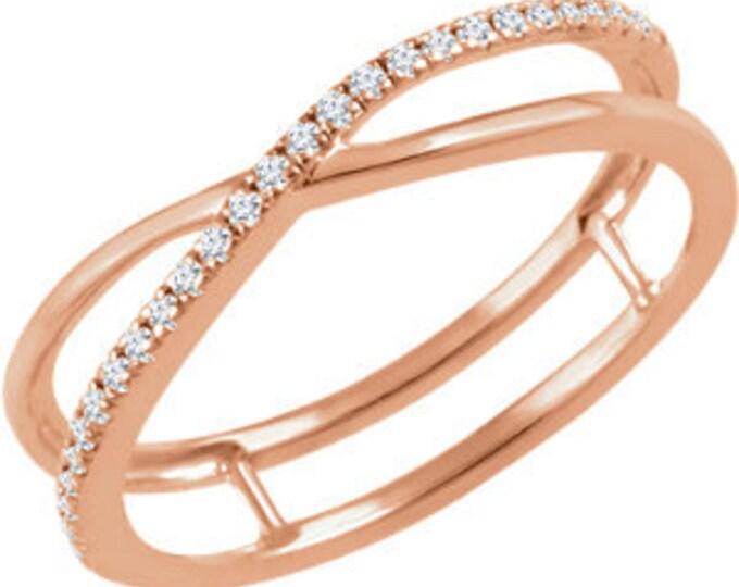 Beautiful 14 Karat White, Rose or Yellow Gold 1/10 CTW Diamond Criss-Cross Ring