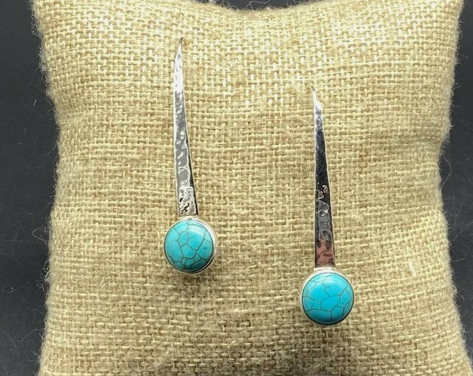 SILPADA 925 Sterling Silver Turquoise 'Swan Dive' Hammered Threader Earrings W2132