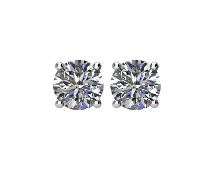 Beautiful 4 Prong Setting 14 Karat White, Rose or Yellow Gold SI2 G-H 1.00 CTW Diamond Stud Earrings.