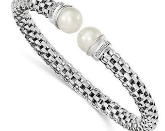 Beautiful Polished 925 Sterling Silver Pearl CZ Cuff Bangle