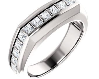 Custom Handcrafted Gents 14 Karat White, Rose or Yellow Gold 1.50 Carat 2.5MM Princess Cut SI1 Clarity G-H Color Diamond Men's Wedding Ring