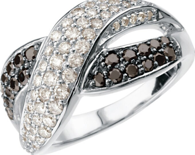 Gorgeous 14 Karat White Gold 1.00 Carat Black & White Diamond Criss-Cross Paver Ring