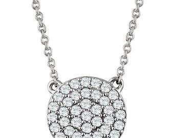 "14 Karat Gold 1/3 Carat SI1-SI2 H+ Diamond Cluster Earrings & Matching 14 Karat Gold 1/3 Carat SI1-SI2 H+ Diamond Cluster 16-18"" Necklace"