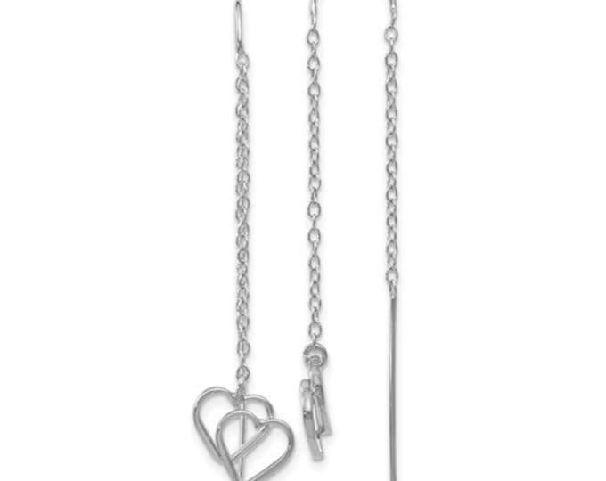 14K White Gold Double Heart Threader Drop Dangle Earrings.