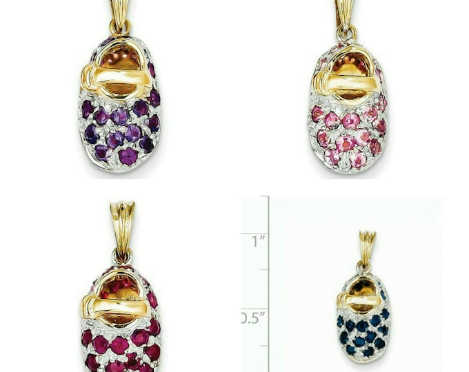 Beautiful Handcrafted Solid 14 Karat Yellow & White Gold 3-Dimensional Natural Genuine Gemstone Birthstone Baby Shoe Charm Pendant.