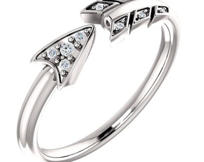 Stunning Platinum, 14 Karat White, Rose or Yellow Gold .040 CTW Diamond Arrow Ring.