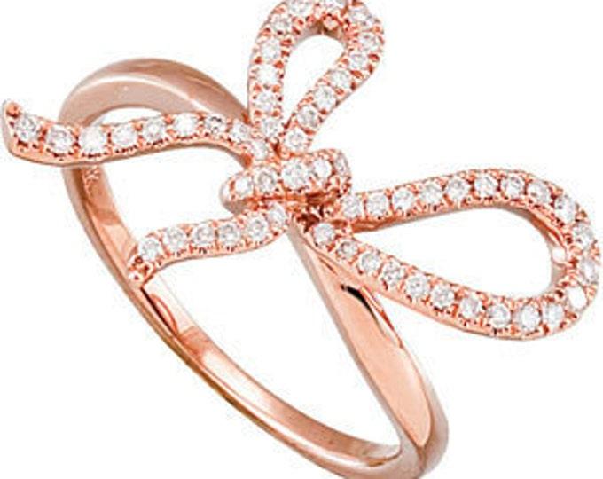 Gorgeous 14 Karat Rose Gold 1/4 Carat Diamond Bow Ring