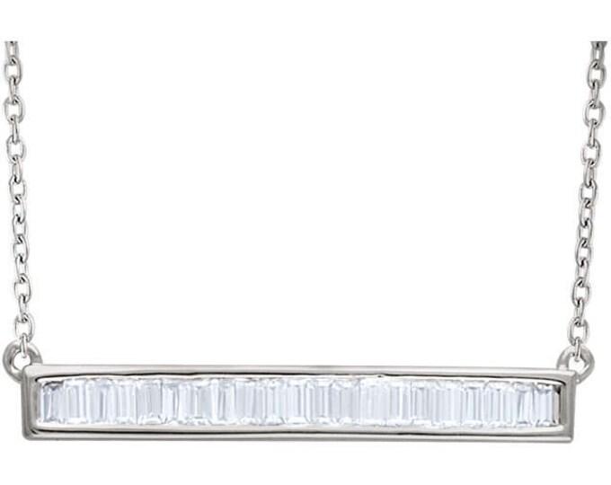 "Custom Solid 14 Karat Rose, White or Yellow Gold 1/4 Carat or 1/2 Carat Diamond Baguette Bar 16-18"" Necklace"
