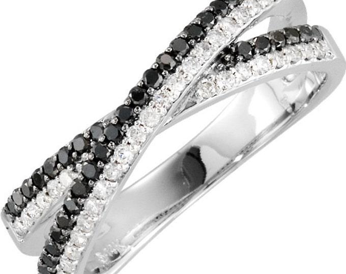 Gorgeous 14 Karat White Gold 3/8 Carat Black & White Diamond Criss-Cross Ring