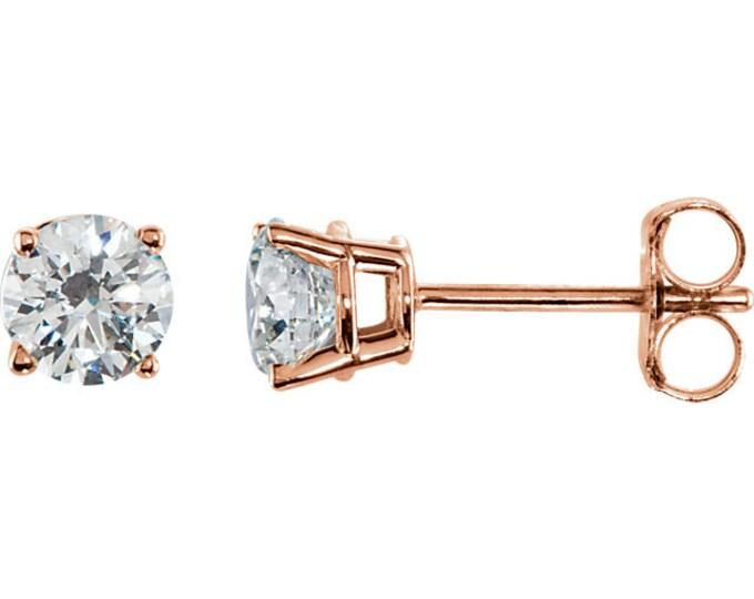 Beautiful 4 Prong Setting 14 Karat White, Rose or Yellow Gold SI2 G-H 3/4 CTW Diamond Stud Earrings.
