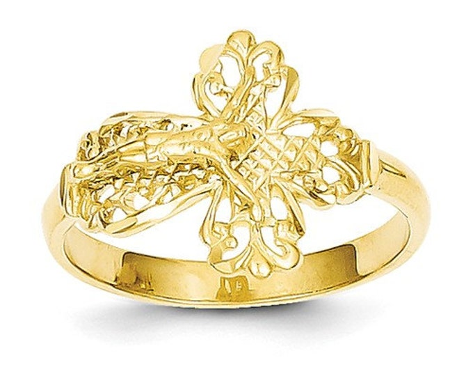 Solid 14 Karat Yellow Gold Diamond Cut Crucifix Ring
