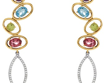Gorgeous Handcrafted 14 Karat Yellow & White Gold Multi Gemstone and Diamond Earrings