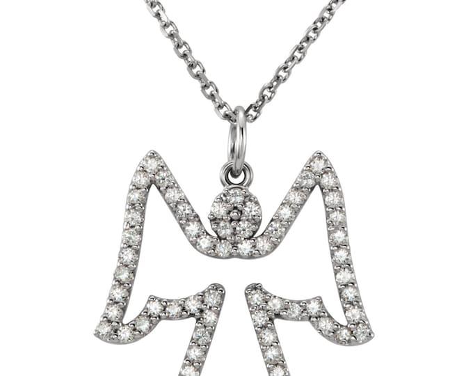 "Gorgeous 14 Karat White or Yellow Gold 1/3 Carat Diamond Angel 16"" Necklace"