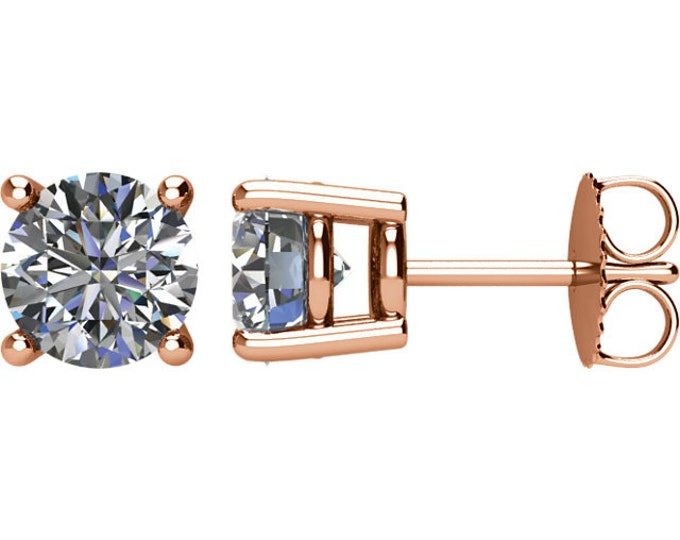 Beautiful 4 Prong Setting 14 Karat White, Rose or Yellow Gold SI2 G-H 2.00 CTW Diamond Stud Earrings.