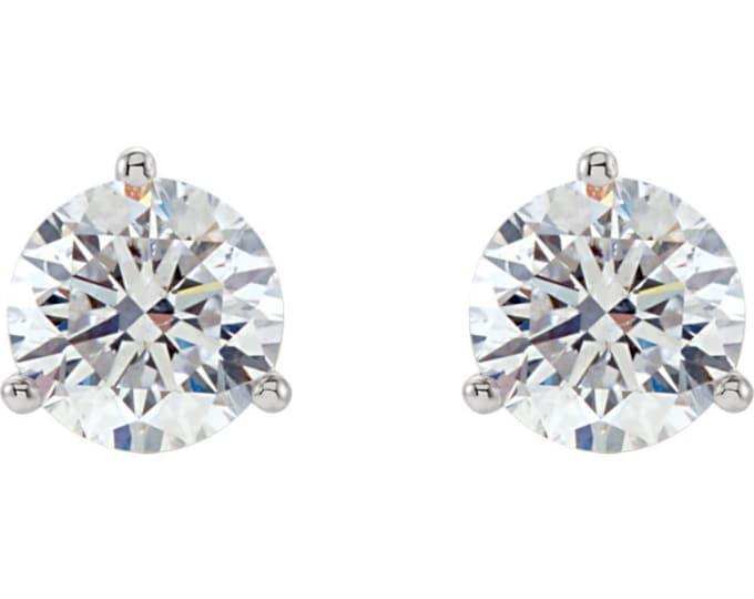 Beautiful Martini Setting 14 Karat White, Rose or Yellow Gold SI2 G-H 1.50 CTW Diamond Stud Earrings.