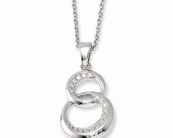 """Gorgeous 925 Sterling Silver & CZ Brilliant Embers Polished Circle Pendant and 18"""" Necklace."""