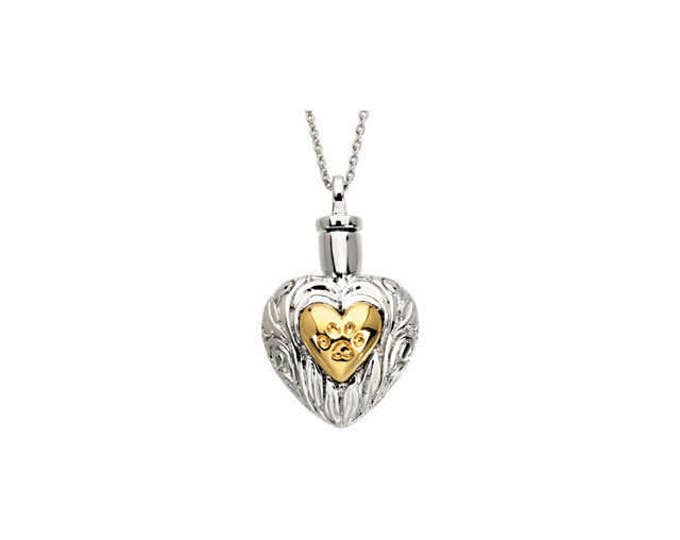 """925 Sterling Silver & Yellow Plated Pet Heart Ash Holder Pendant and 18"""" Necklace"""