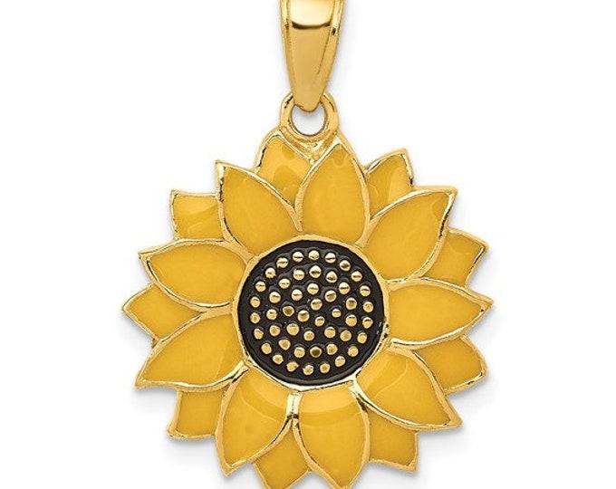 Handmade 14 Karat Yellow Gold Enameled Yellow Sunflower Pendant