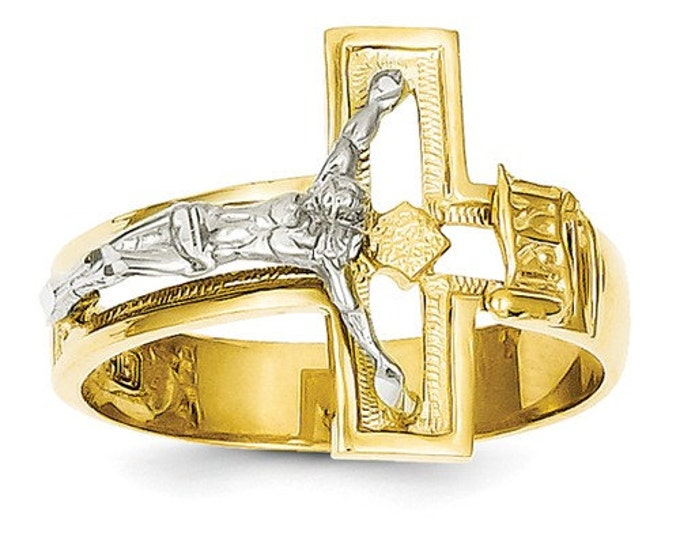 Solid 14 Karat Two-tone Gold Crucifix Men's Ring.