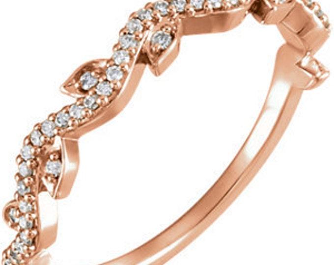 Beautiful 14 Karat White, Rose or Yellow Gold 1/6 Carat Diamond Leaf Ring