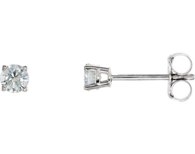 Beautiful 4 Prong Setting 14 Karat White, Rose or Yellow Gold SI2 G-H 1/4 CTW Diamond Stud Earrings.