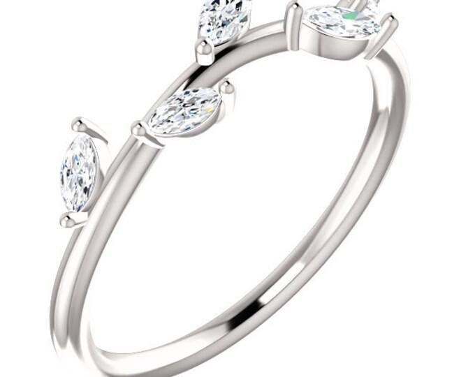Stunning 14 Karat White, Rose or Yellow Gold 1/3 Carat Diamond Leaf Ring