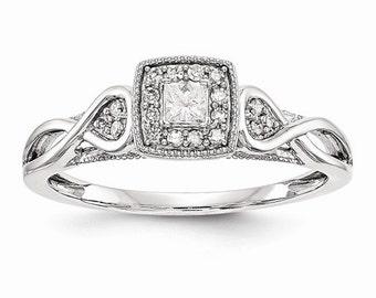 Gorgeous Solid 14 Karat White Gold 1/5 Carat Princess Cut Diamond Engagement Ring