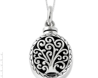 Sterling Silver Antiqued Tree of Life Ash Holder 18in Necklace.