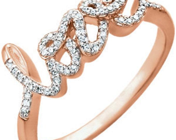 Beautiful 14 Karat White, Rose or Yellow Gold 1/6 Carat Diamond Love Ring