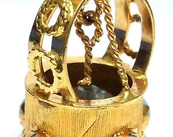 Absolutely Beautiful Antique Handcrafted 18 Karat Gold Persian Sleeping Beauty Turquoise & Blue Topaz Wishing Well Pendant.